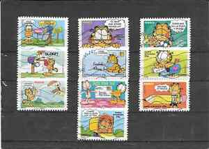FRANCE-2008-SOURIRES-LE-CHAT-GARFIELD-SERIE-COMPLETE-DE-10-TIMBRES-AA-OBLITERES
