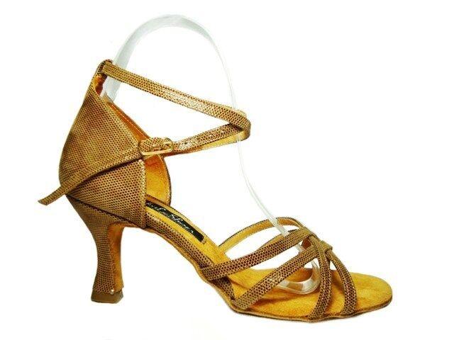 MONDIAL chaussures 05 salle de bal sandales femmes talon 70 R beige cuir ouvert