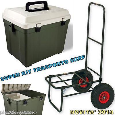kit bauletto con seduta e carrello porta attrezzatura pesca lago mare