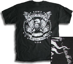 Biker-Pistons-Chain-Wings-Eagle-Ride-the-Best-Mens-T-Shirt-Small-3XL