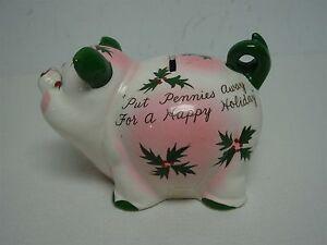 Cute Vintage Piggy Bank W Rhinestone Eyes Nose W Cute Sayings On Sides Ebay