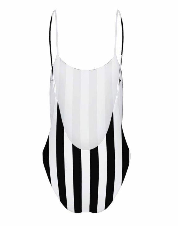 Infamous Swim Candice One-Piece femmes maillot de bain Monochrome Stripe in XS S M L XL