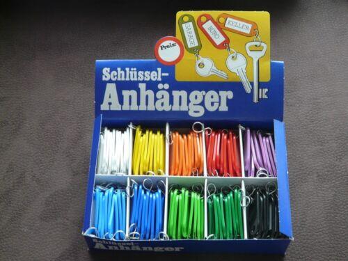 farbig sortiert mit Rechnung 100 Kunststoff-Schlüsselanhänger mit S-Haken
