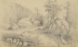 """Drawing 1823-aft. 1860 Otto Arnz 1850 Luxuriant In Design Ca """"deer Hunting"""""""