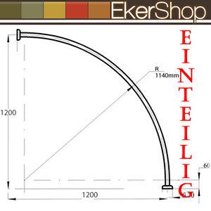 Ekershop ALU EINTEILIG Duschvorhangstange Bogenstange 140 x 140 Chrom gl/änzend Oval Stange Eckduschstange ovalstange