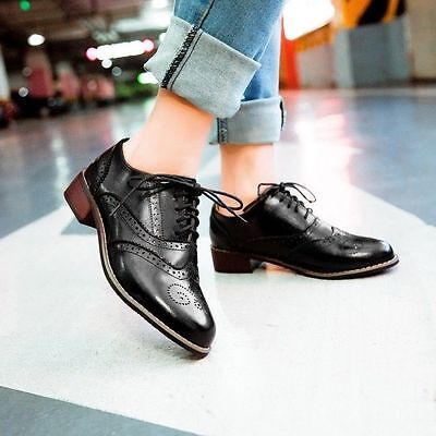 Gothic Women's Retro Lace Up Brogues Girls College Low Heels Oxford Shoes