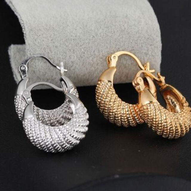 Womens Beautiful 18k White/Yellow Gold Filled Hoop Earrings Pierced Nice Jewelry