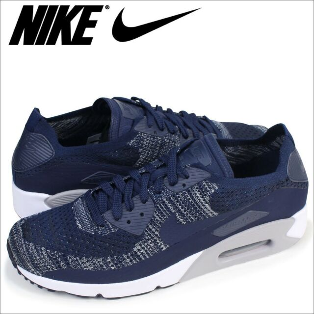 best service 15122 cdb02 Nike Air Max 90 Ultra 2.0 Flyknit 10.5 College Navy Blue Grey White  875943-401