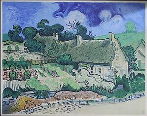 Vincent-Van-Gogh-034-Thatched-Cottages-at-Cordeville-034-original-lithograph-on-paper