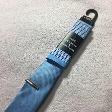 NEW MENS NEXT SILK SLIM 6cm BLUE WOVEN SILK TIE + POCKET SQUARE + CLIP SLIDE