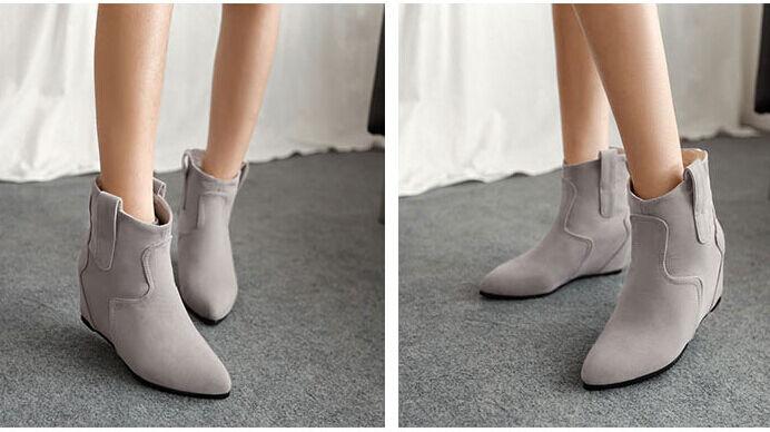 Stiefeletten stiefel frauen keilschuhe 6 cm simil leder komfortabel grau 9124