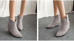 Botines botas zapatos de mujer de cuña 6 cm como piel cómodo gris 9124