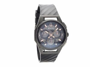 633be5ec0 Bulova 98A162 Men's Chronograph Curv Black Rubber Strap Watch 44mm ...