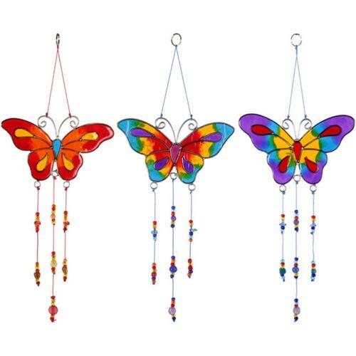 Lot de 3 Papillon Sun Catchers violet rouge et bleu Décoration de Jardin Décoration