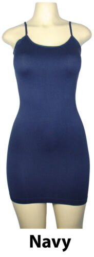 Women Camisole Cami Long Bodycon TOP Plain Spaghetti Strap SLIP Mini DRESS