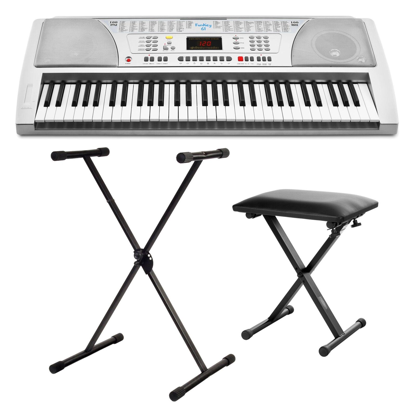 61 KEYS ELECTRONIC KEYBOARD DIGITAL PIANO INCL. MUSIC STAND AND PIANO BENCH SEAT
