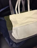 Set Of 3 Saks 5th Ave Tote Bag Medium Size White/blue/olive Green Gwp