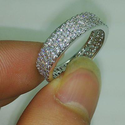Engagement 10kt Gold Filled White Topaz Diamonique Wedding Band Ring Size 5-11