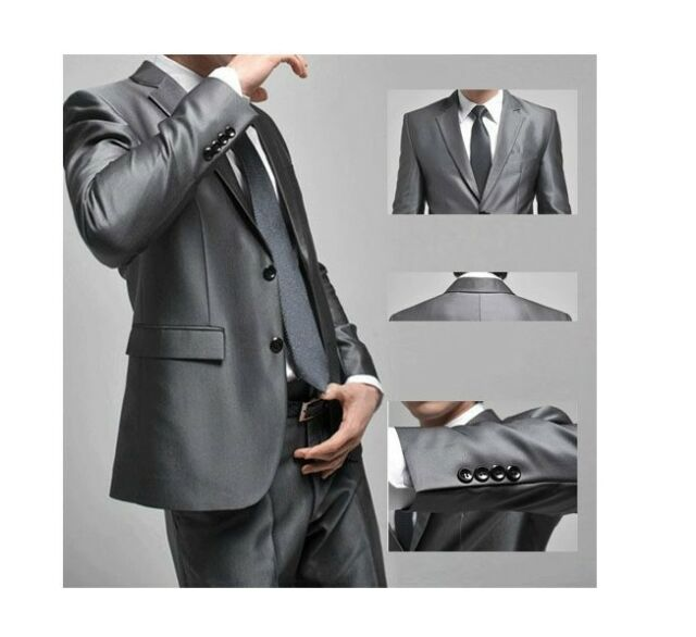 2016 Mens Slim Fit Wedding Bestman Two Button Suit Suits set Jacket+pants Silver