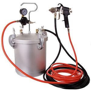 8ltr pressure tank with air regulator paint pot spray gun 2 0mm 2x hoses ebay. Black Bedroom Furniture Sets. Home Design Ideas