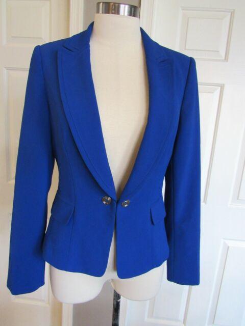 White House Black Market Women's Blue Long Sleeve Lined Blazer Size 8