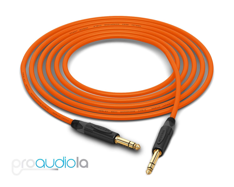 Mogami Quad 2534 Cable   Neutrik guld 1 4  TRS   Orange 200 Feet   200 Ft. 200'