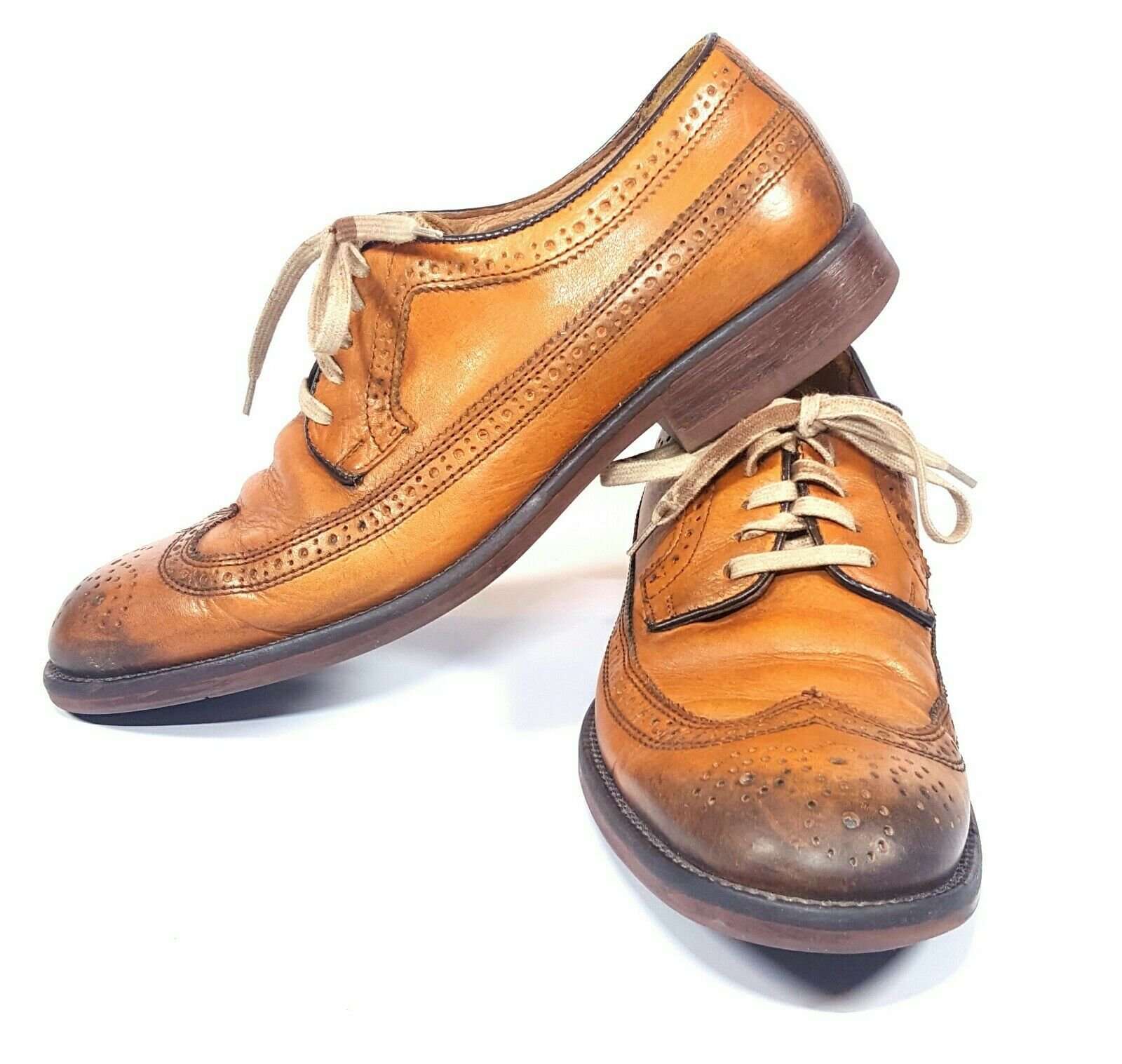 87590f7ba54999 Johnston Johnston Johnston Murphy Mens Wing Tip shoes 8.5 M Decatur 2 Tone  Brown Brogue Burnished ...