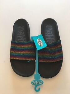 Black Mad Love Women/'s Milena Sparkling Glitter Rainbow Slide Slip-On Sandal