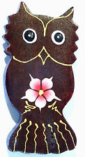Magnet Aimant Hibou Chouette Bois Frigo Artisanal Animal Owl Fleur wooden