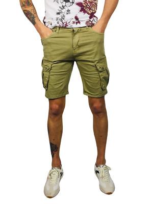 Bermuda uomo pantaloni corti cargo tasconi laterali verde blu sabbia militare