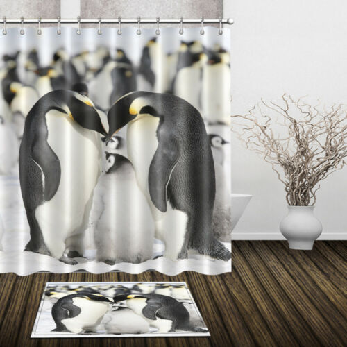 Rideau De Douche Pingouin Famille Polyester Tissu Imperméable Salle De Bain Tapis De Bain Tapis