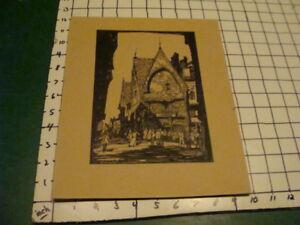 original drawing: European building & people, done in ink. nice