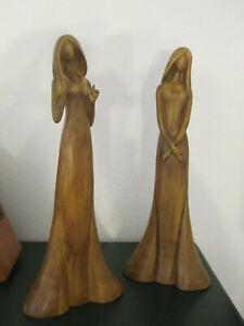 2 große schöne Figuren Frau Keramik in Holzoptik