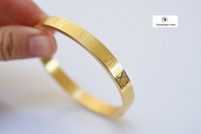 Roman Numeral Stainless Steel Gold Plated Hinged Bangle Bracelet For Men