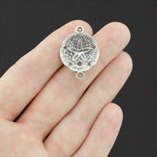SC4718 4 Sand Dollar Connector Antique Silver Tone Charms