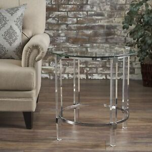 Orson See Through Clear Acrylic & Glass Round End Table