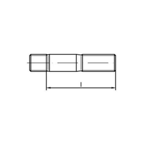 Stehbolzen Gewindebolzen DIN 939 M20x45 Stahl 8.8 galvanisch verzinkt 10 Stk