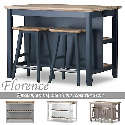 Florence Breakfast Bar With 2 Large Shelves Small Kitchen Island With Storage Ebay