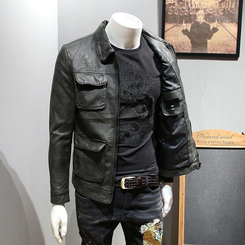 Men's Faux Leather Jacket Pocket Reteo Slim Slim Slim Fit