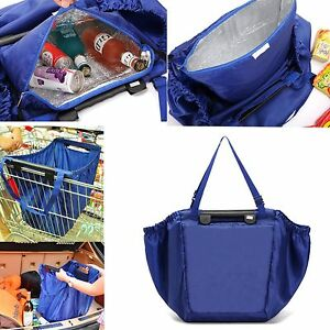 Blue-Insulated-Cool-Grab-Bag-Clip-To-Cart-Reusable-Grocery-Shopping-Bag-18-Gal