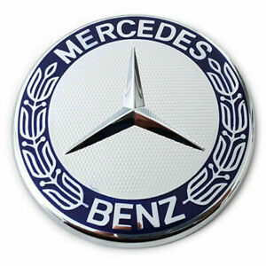 1-x-Mercedes-Benz-MB-Stern-Abdeckung-Emblem-Motorhaube-Blau-Silber