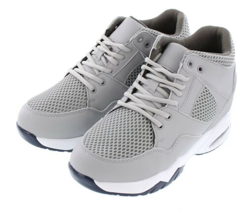CALTO H329084-3.4 Inches Elevator Height Increase Cement Grey Mesh Sneakers