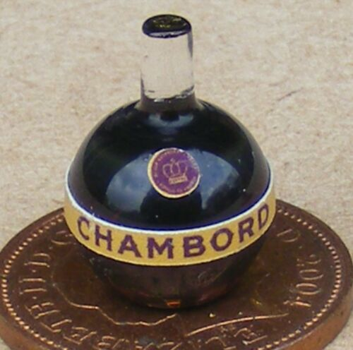 1:12 Scale Glass Bottle With A Chambord Liqueur Label Tumdee Dolls House Drink
