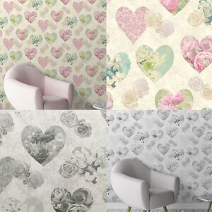 Fine-Decor-Floral-Hearts-Wallpaper-Vintage-Lace-Roses-Flowers-2-Colours