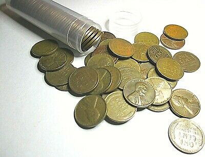 Pennies 50 Coins 1920-S Lincoln Cent Wheat Penny Roll of Nice Circulated Good