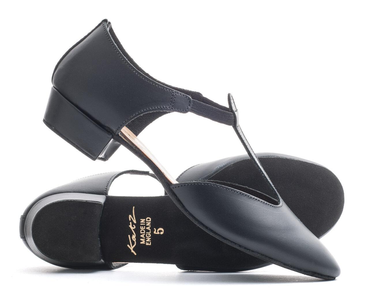 Ladies Girls Black PU Dance Greek Sandal Teaching Jive Ceroc Salsa Shoe By Katz