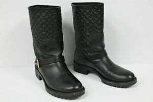 Louis-Vuitton-LV-Rebellion-Women-039-s-Boots-Size-40-Black-Leather-Embossed