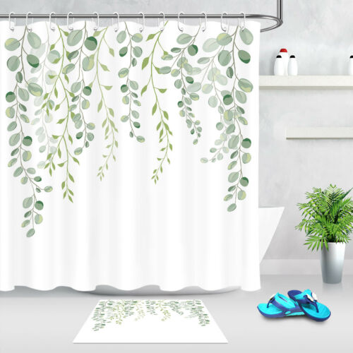 Watercolor Green Leaves White Backdrop Fabric Shower Curtain Set Bathroom Decor