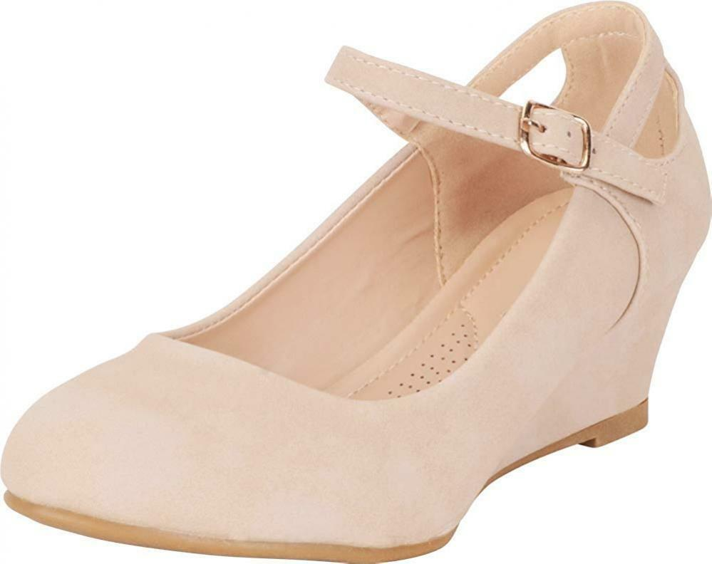 Cambridge Select Women's Round Toe Mary Jane Cutout Comfort Low Wedge