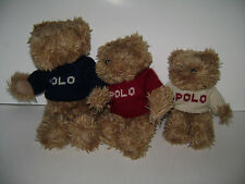 Ralph Lauren Polo Teddy Bears 3 Plush Family Set Red White Blue Sweaters 2002